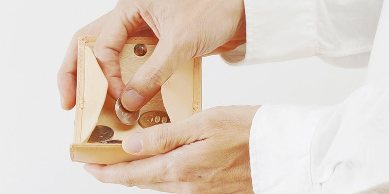 1アクションで小銭とお札を同時に取り出せる