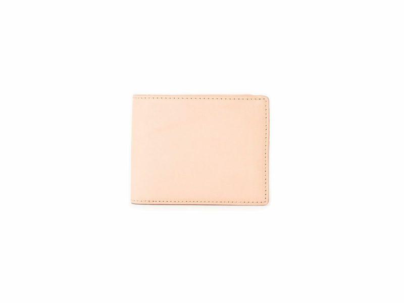 グレージングヌメ 二つ折り財布(小銭入れ付き) ベージュ