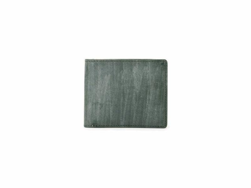 ブライドルレザー 二つ折り財布(小銭入れ無し) グリーン