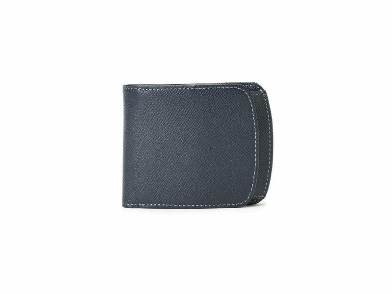 エンボス ヒップポケット外ボックス小銭二つ折り財布 ネイビー
