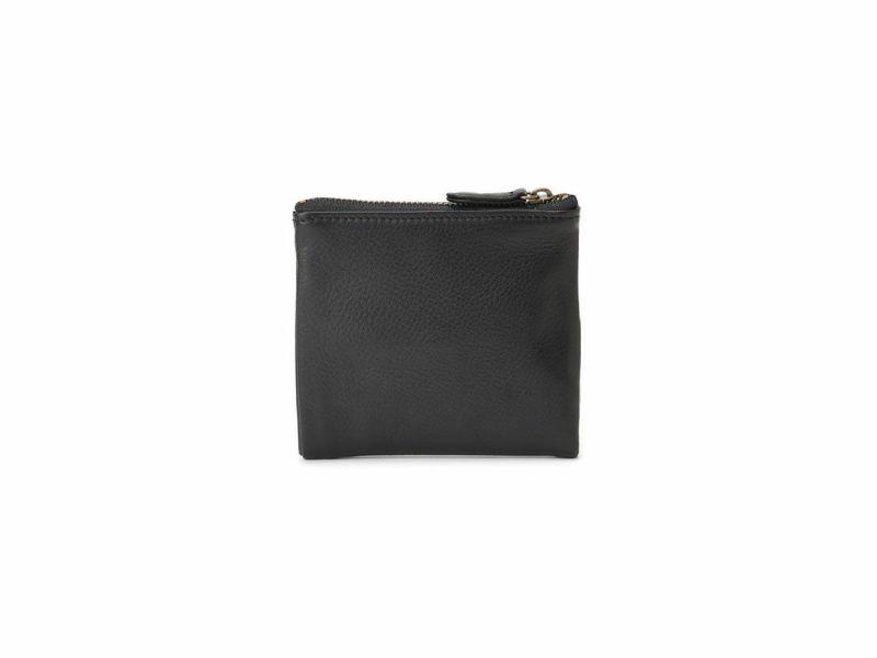 マイルドキップ 天ファスナー二つ折り革財布 ブラック