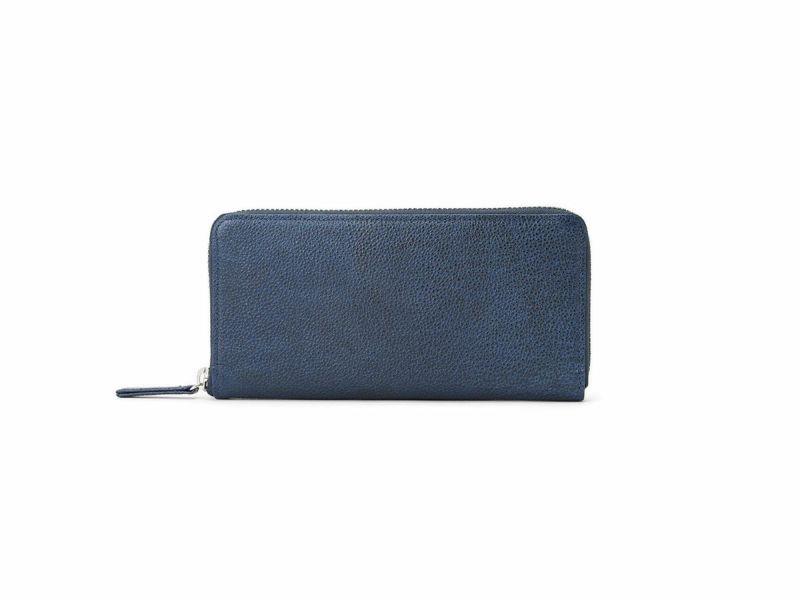 黒桟 藍染め ラウンドファスナー長財布 ネイビー