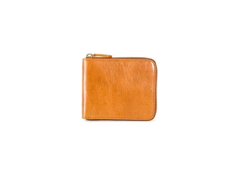 レクタ ラウンドファスナー二つ折り財布 キャメル
