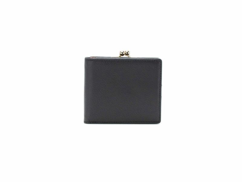 フェルモ 外がま口二つ折り財布|ブラック