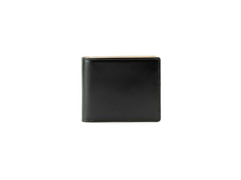 コードバン 二つ折り財布(小銭入れ無し) ブラック