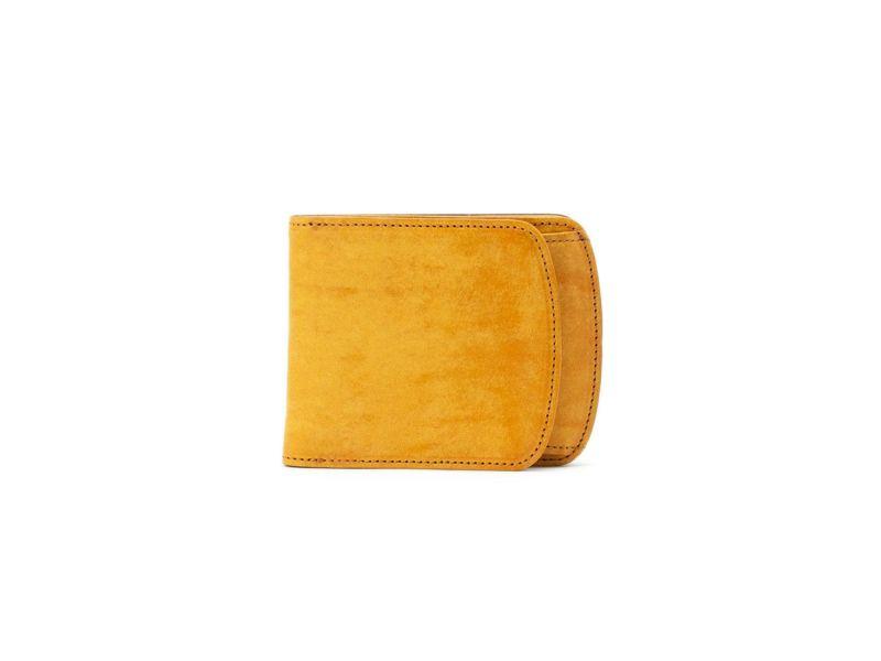 マヤ 外ボックス小銭入れ付き二つ折り財布 イエロー